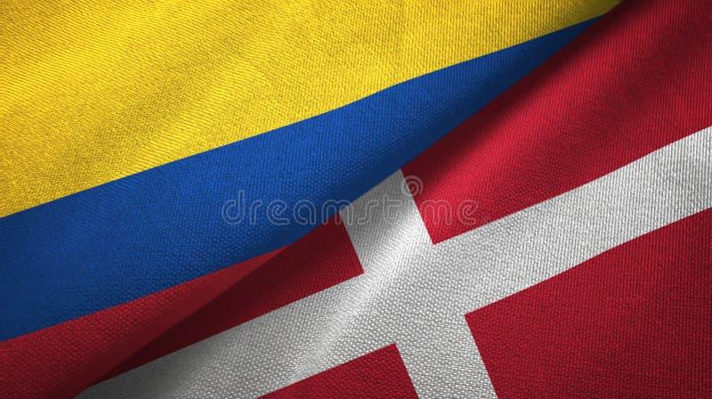 Pano de matéria têxtil das bandeiras de Colômbia e de Dinamarca dois, textura da tela ilustração stock