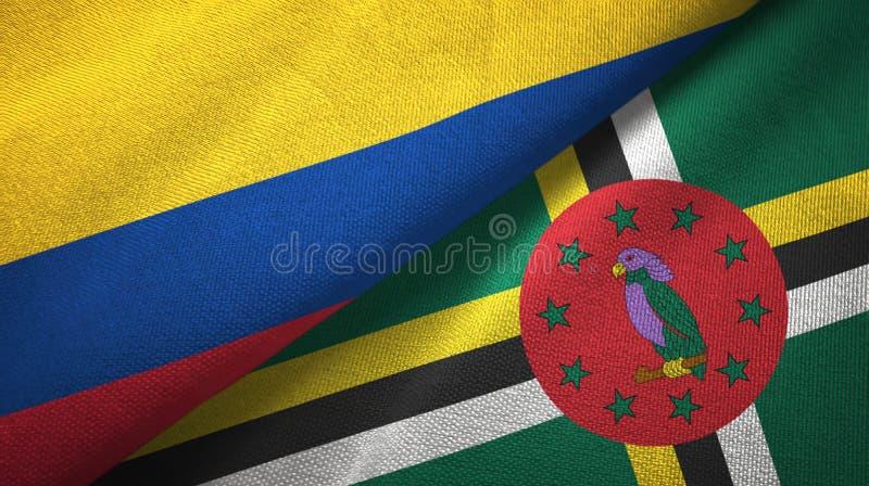 Pano de matéria têxtil das bandeiras de Colômbia e de Domínica dois, textura da tela ilustração royalty free