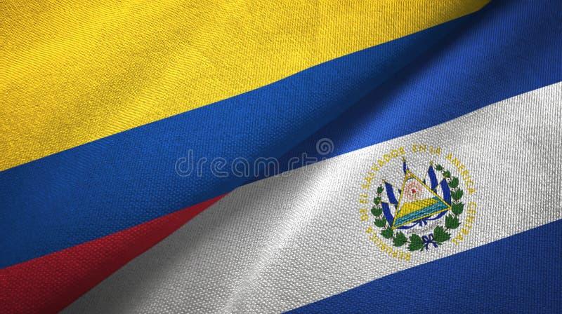 Pano de matéria têxtil das bandeiras de Colômbia e de El Salvador dois, textura da tela ilustração stock