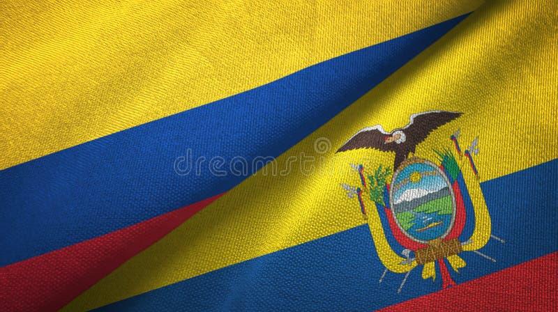 Pano de matéria têxtil das bandeiras de Colômbia e de Equador dois, textura da tela ilustração stock