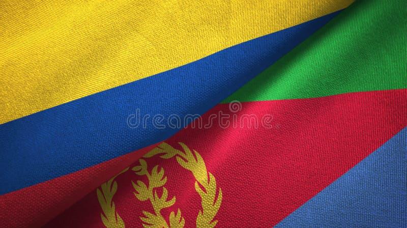 Pano de matéria têxtil das bandeiras de Colômbia e de Eritreia dois, textura da tela ilustração do vetor