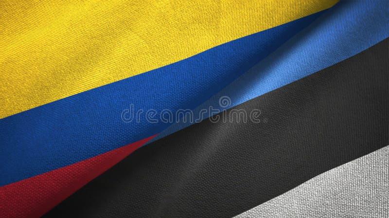 Pano de matéria têxtil das bandeiras de Colômbia e de Estônia dois, textura da tela ilustração do vetor