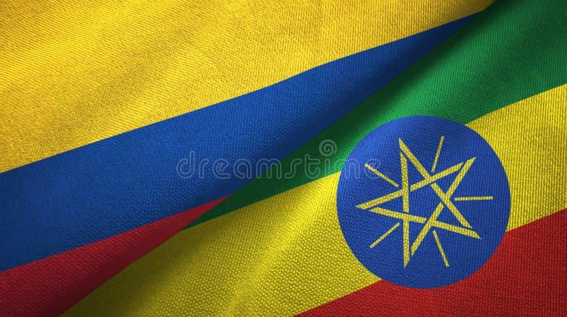 Pano de matéria têxtil das bandeiras de Colômbia e de Etiópia dois, textura da tela ilustração stock