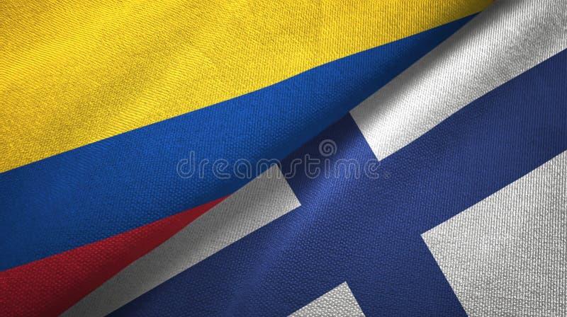 Pano de matéria têxtil das bandeiras de Colômbia e de Finlandia dois, textura da tela ilustração do vetor