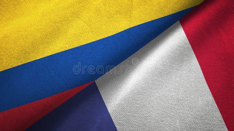 Pano de matéria têxtil das bandeiras de Colômbia e de França dois, textura da tela ilustração royalty free