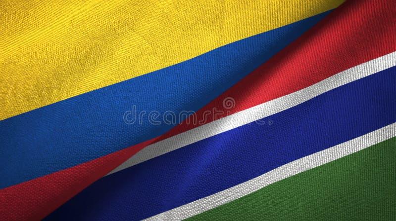Pano de matéria têxtil das bandeiras de Colômbia e de Gâmbia dois, textura da tela ilustração stock
