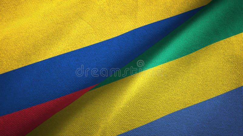 Pano de matéria têxtil das bandeiras de Colômbia e de Gabão dois, textura da tela ilustração do vetor