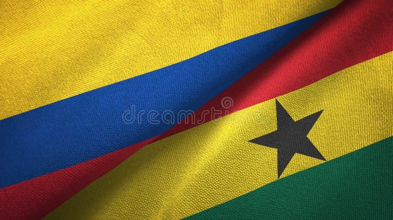 Pano de matéria têxtil das bandeiras de Colômbia e de Gana dois, textura da tela ilustração do vetor