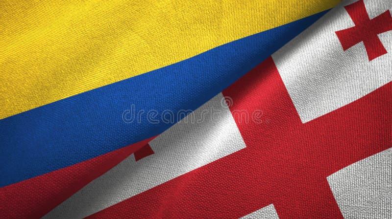 Pano de matéria têxtil das bandeiras de Colômbia e de Geórgia dois, textura da tela ilustração do vetor