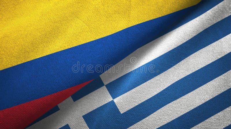 Pano de matéria têxtil das bandeiras de Colômbia e de Grécia dois, textura da tela ilustração do vetor