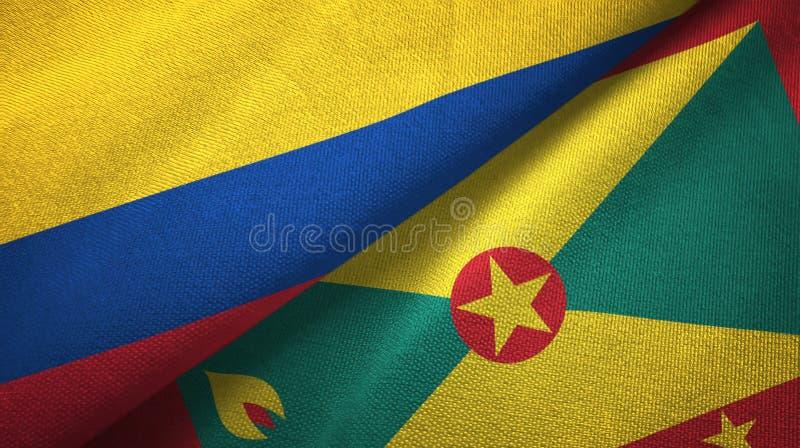 Pano de matéria têxtil das bandeiras de Colômbia e de Granada dois, textura da tela ilustração royalty free