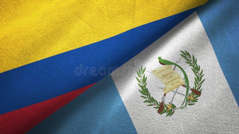Pano de matéria têxtil das bandeiras de Colômbia e de Guatemala dois, textura da tela ilustração royalty free