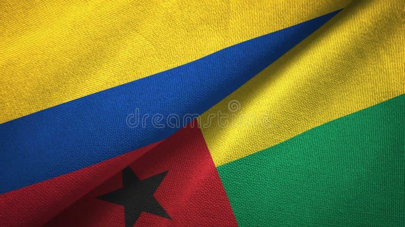Pano de matéria têxtil das bandeiras de Colômbia e de Guiné-Bissau dois, textura da tela ilustração stock