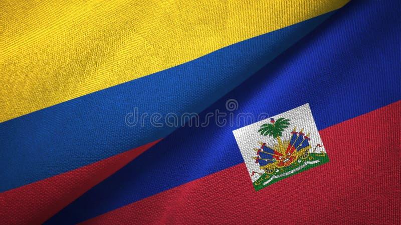 Pano de matéria têxtil das bandeiras de Colômbia e de Haiti dois, textura da tela ilustração royalty free