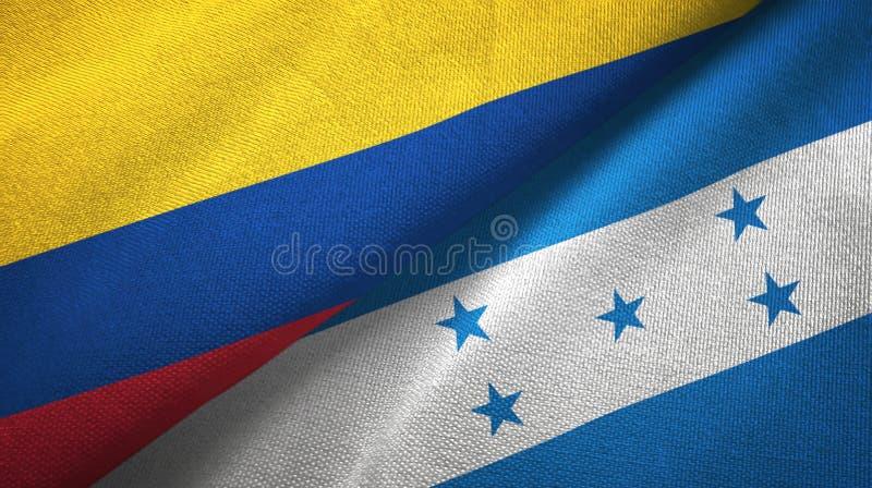 Pano de matéria têxtil das bandeiras de Colômbia e de Honduras dois, textura da tela ilustração royalty free