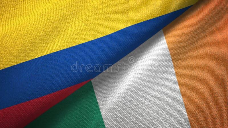 Pano de matéria têxtil das bandeiras de Colômbia e de Irlanda dois, textura da tela ilustração royalty free