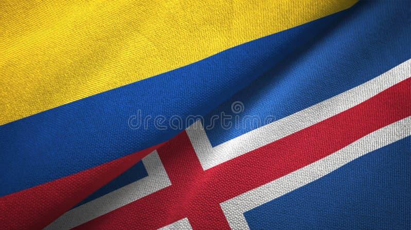 Pano de matéria têxtil das bandeiras de Colômbia e de Islândia dois, textura da tela ilustração do vetor