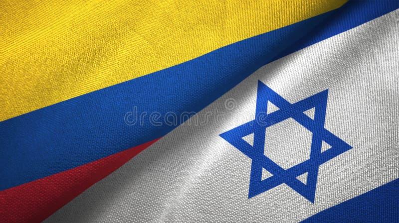 Pano de matéria têxtil das bandeiras de Colômbia e de Israel dois, textura da tela ilustração do vetor