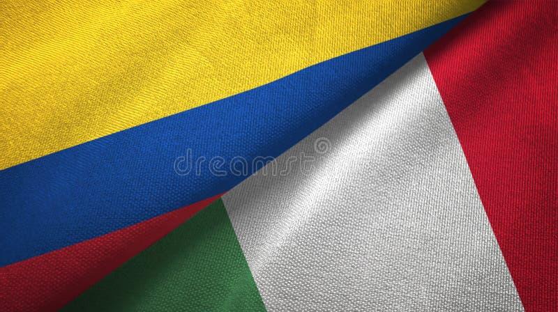Pano de matéria têxtil das bandeiras de Colômbia e de Itália dois, textura da tela ilustração stock