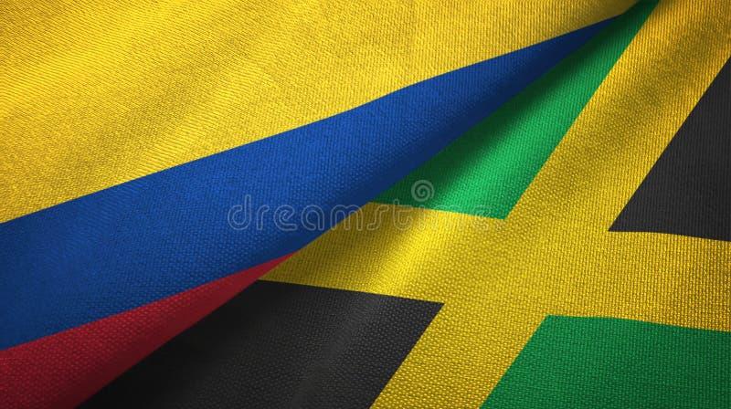 Pano de matéria têxtil das bandeiras de Colômbia e de Jamaica dois, textura da tela ilustração royalty free