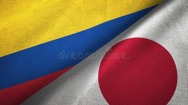 Pano de matéria têxtil das bandeiras de Colômbia e de Japão dois, textura da tela ilustração do vetor
