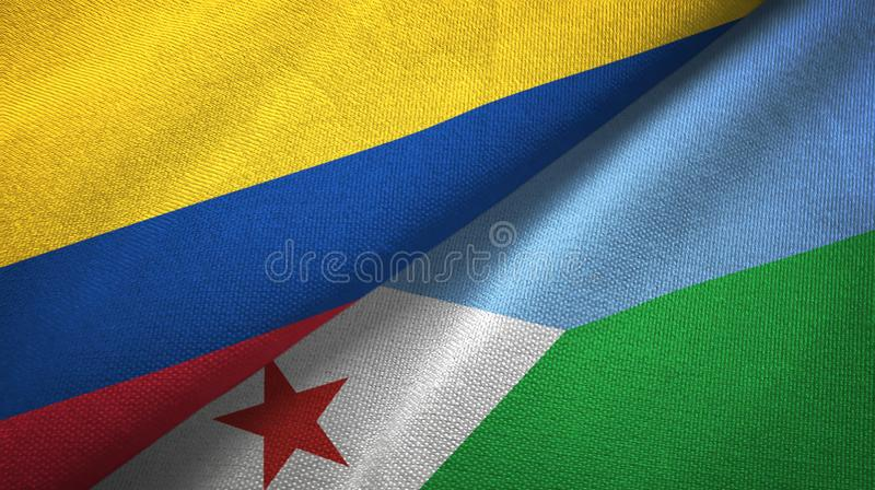 Pano de matéria têxtil das bandeiras de Colômbia e de Jibuti dois, textura da tela ilustração stock