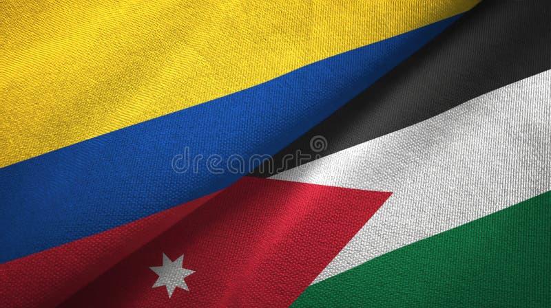 Pano de matéria têxtil das bandeiras de Colômbia e de Jordânia dois, textura da tela ilustração royalty free