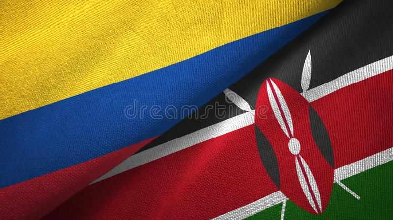 Pano de matéria têxtil das bandeiras de Colômbia e de Kenya dois, textura da tela ilustração do vetor