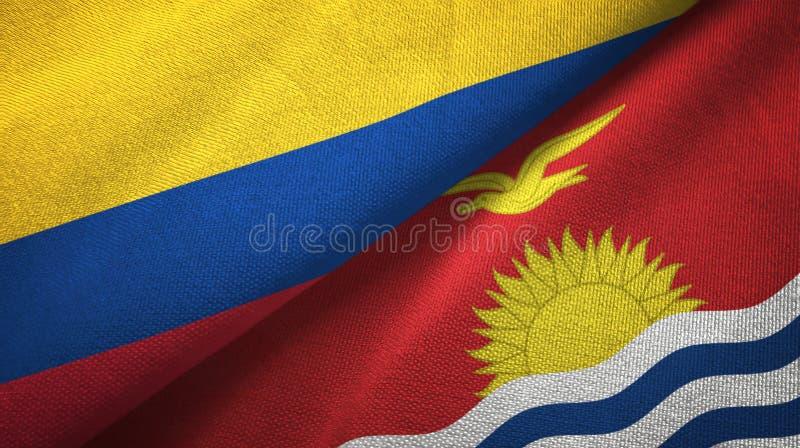 Pano de matéria têxtil das bandeiras de Colômbia e de Kiribati dois, textura da tela ilustração royalty free