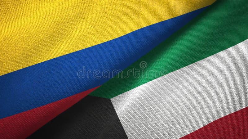 Pano de matéria têxtil das bandeiras de Colômbia e de Kuwait dois, textura da tela ilustração stock