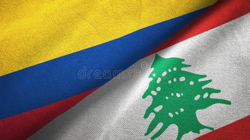 Pano de matéria têxtil das bandeiras de Colômbia e de Líbano dois, textura da tela ilustração royalty free