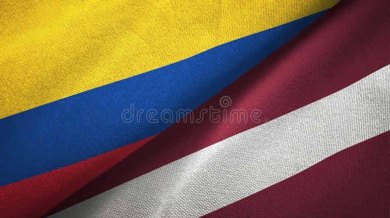 Pano de matéria têxtil das bandeiras de Colômbia e de Letónia dois, textura da tela ilustração do vetor