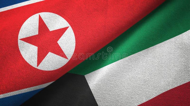 Pano de matéria têxtil das bandeiras da Coreia do Norte e do Kuwait dois, textura da tela ilustração stock