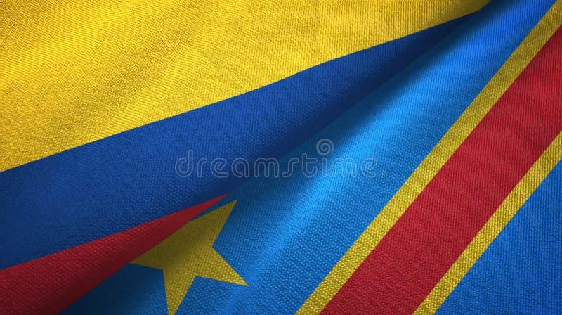 Pano de matéria têxtil das bandeiras da república Democrática dois de Colômbia e de Congo ilustração stock