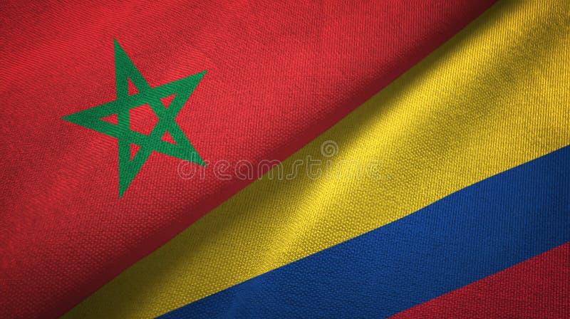 Pano de matéria têxtil das bandeiras de Marrocos e de Colômbia dois, textura da tela ilustração royalty free