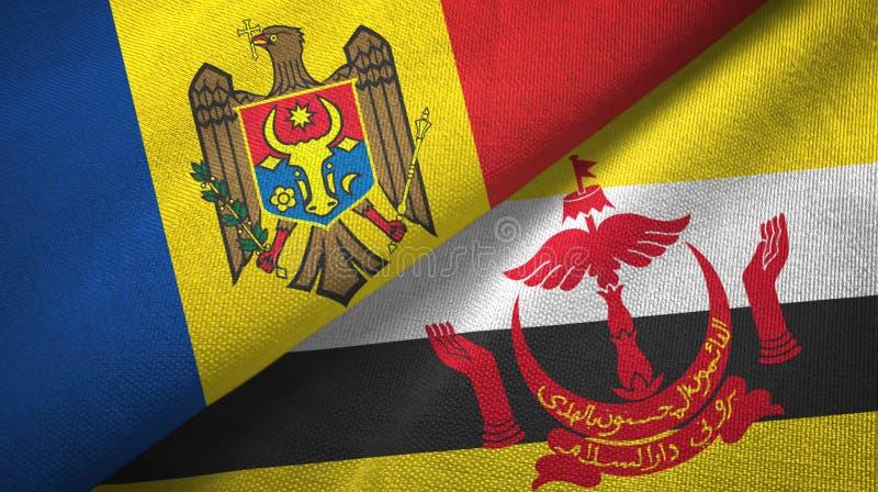 Pano de matéria têxtil das bandeiras de Moldova e de Brunei Darussalam dois foto de stock royalty free
