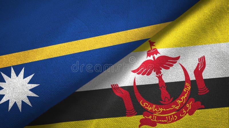 Pano de matéria têxtil das bandeiras de Nauru e de Brunei Darussalam dois imagem de stock royalty free