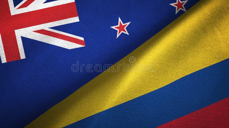 Pano de matéria têxtil das bandeiras de Nova Zelândia e de Colômbia dois, textura da tela ilustração royalty free