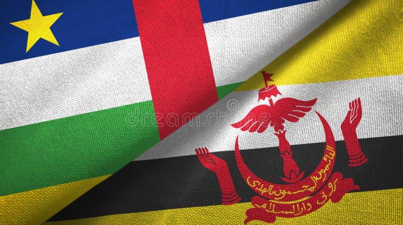 Pano de mat?ria t?xtil das bandeiras de Rep?blica Centro-Africana e de Brunei Darussalam dois imagens de stock royalty free