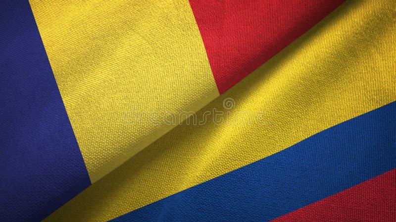 Pano de matéria têxtil das bandeiras de Romênia e de Colômbia dois, textura da tela ilustração stock