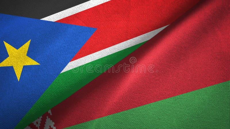 Pano de matéria têxtil das bandeiras sul de Sudão e de Bielorrússia dois, textura da tela imagens de stock royalty free