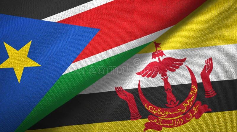 Pano de matéria têxtil das bandeiras sul de Sudão e de Brunei Darussalam dois imagens de stock