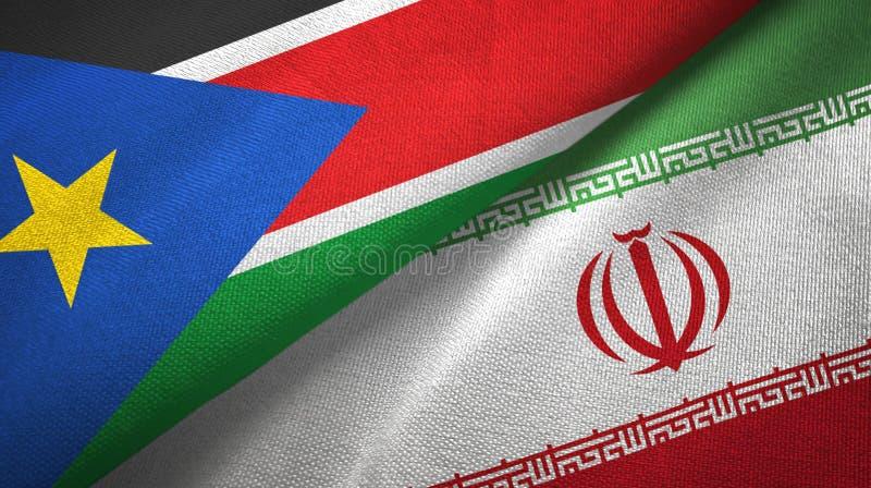 Pano de matéria têxtil das bandeiras sul de Sudão e de Irã dois, textura da tela imagem de stock royalty free