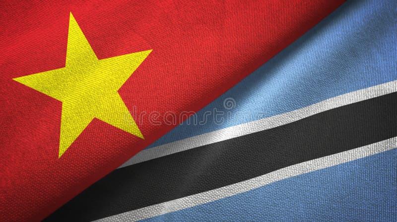 Pano de matéria têxtil das bandeiras de Vietname e de Botswana dois, textura da tela ilustração royalty free
