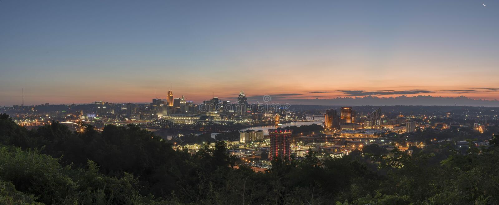 Pano of Downtown Cincinnati, Ohio skyline stock images