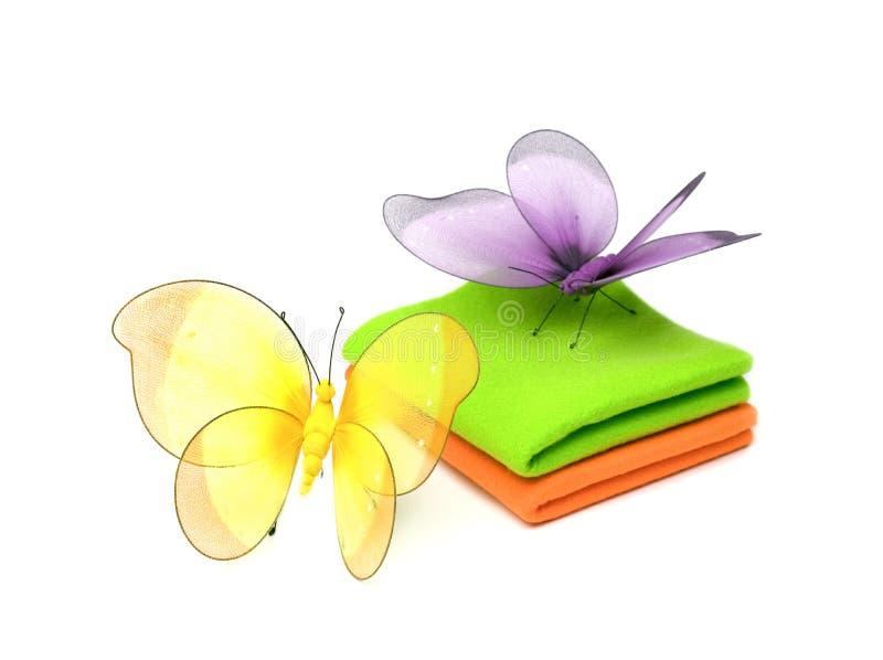 Pano e borboletas fotografia de stock