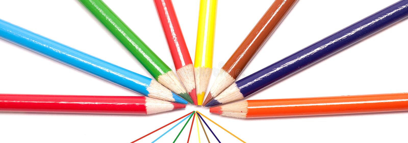 Pano of fanned out color pencils. stock photography