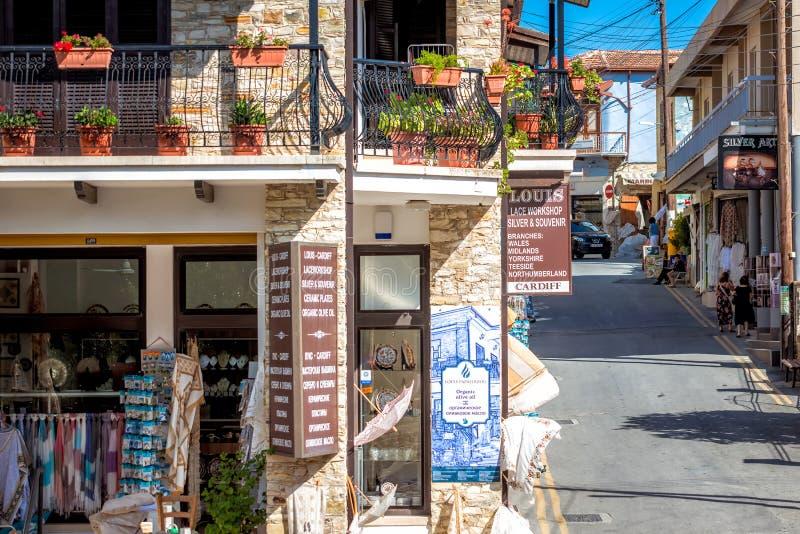 PANO LEFKARA, CHIPRE - 17 DE JUNHO DE 2018: Laço e loja de prata no th fotos de stock