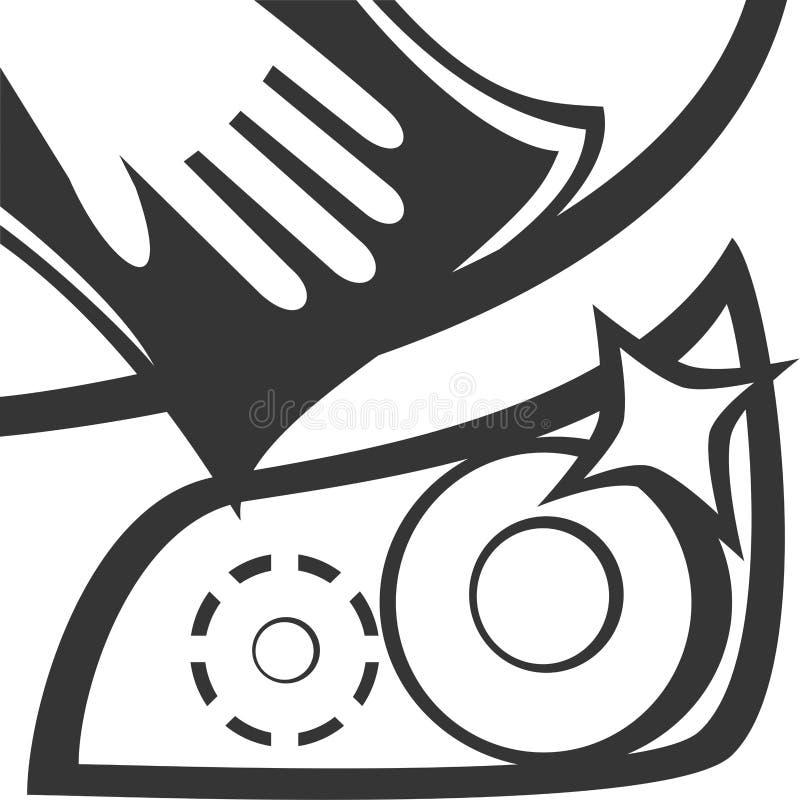 Pano & mão limpos - capa & farol do carro ilustração royalty free