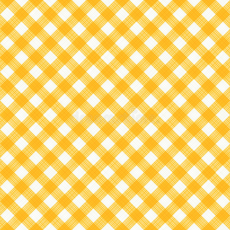 Pano sem emenda amarelo e teste padrão diagonal branco do guingão, ou da tela ilustração do vetor